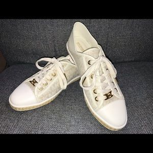Michael Kors Kristy Slide Sneakers Gold and Ivory